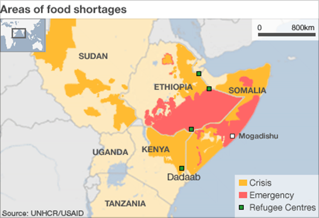 Area of food shortages in Africa. UNHCR / USAID / bbc.co.uk