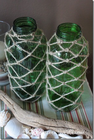 Green glass jars with knotted jute net accents