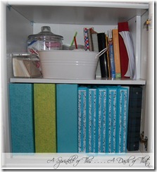 Shelf after magazine holder makeover{A Sprinkle of This . . . . A Dash of That}