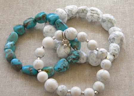 Faux stone bracelets from salt dough and here they are my favorite bracelets turquoise white stone and salt dough aloadofball Choice Image