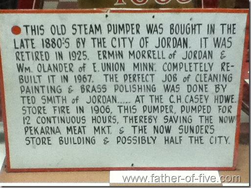 Steam Pumper History - Jordan Fire Department