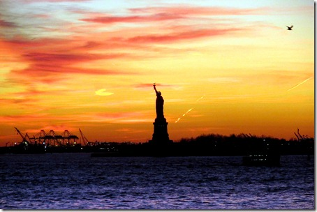 Staten Island Ferry, NYC skyline, and Statue of Liberty with the Godbys