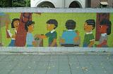 Pixelated school wall