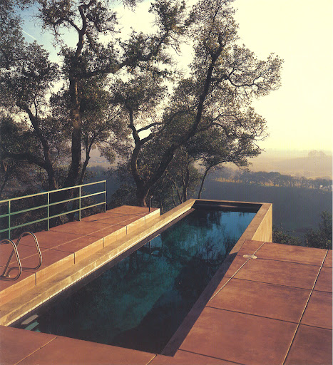 This pool seems to be a natural extension of the gorgeous vista. Napa Valley, California. Michael Moran, 1990. (Pools, Kelly Klein, Rizzoli)