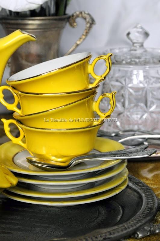 juego de cafè amarillo tazas