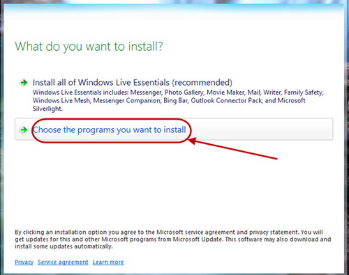 Choose your programs to install