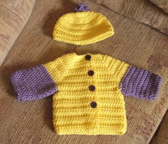 Sweater set gold and purple