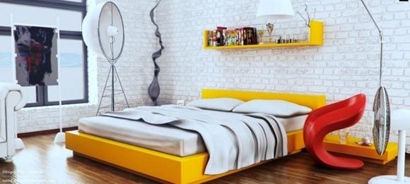 Dormitorio de moda: amarillo, rojo y blanco