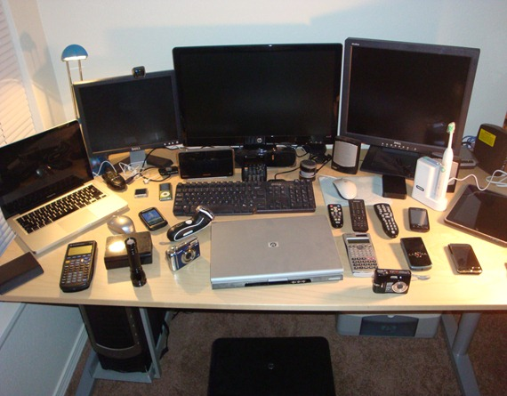 Computer Desk Full of Electronics