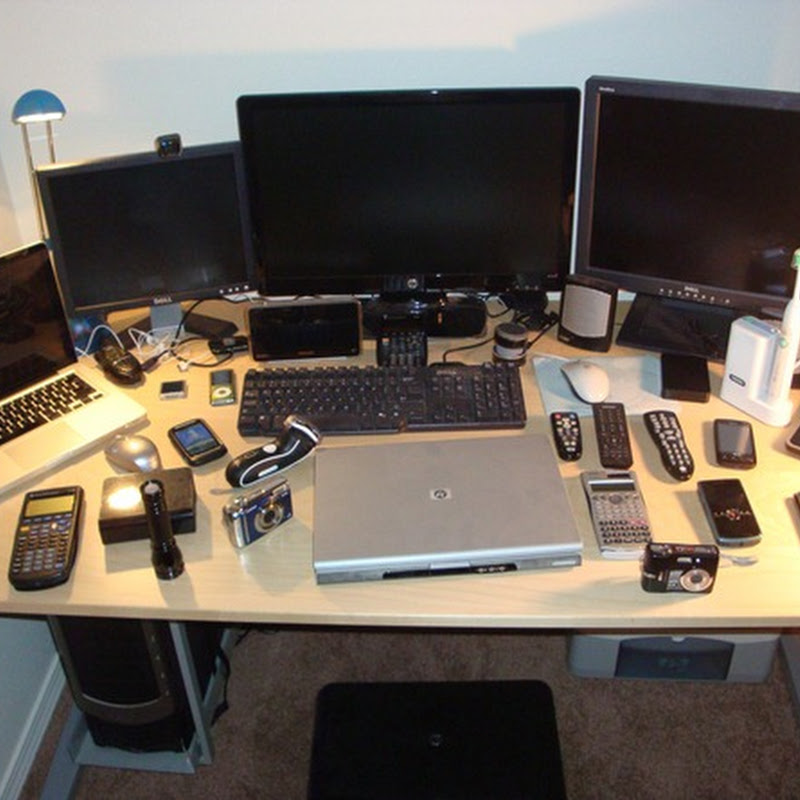Don't be this guy. Computer desk full of electronics