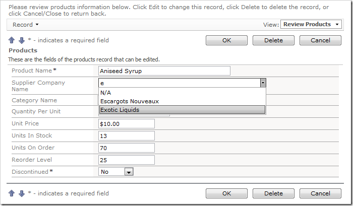 Auto Complete data lookup fields will filter according to the parameter entered by the user.