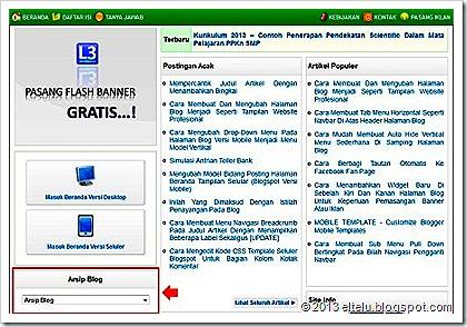 Pemasangan Widget Arsip Blog Di Beranda Blog