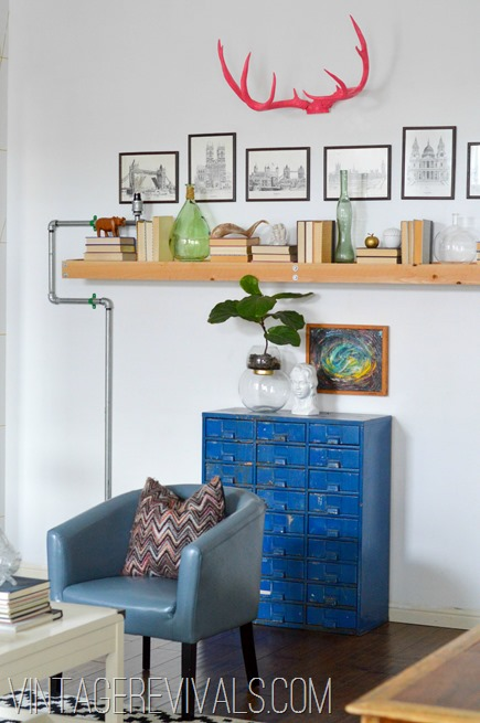 Living room makeover reveal vintage revivals for B q living room shelves
