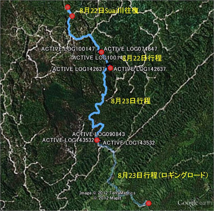 山越えGPS4 (作成:甲山氏)/A GPS image of our trekking route (Created by O. Kozan)