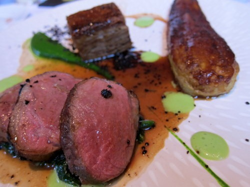 Loin and Shoulder of Lamb with an Aubergine Glazed with Black Sugar and Garlic, Green Tomato Juice and Dried Olives