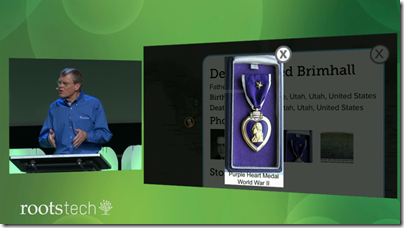 Dennis Brimhall visits a Discovery Center and finds a picture of his Father's Purple Heart medal