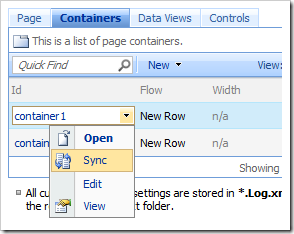Sync command on the context menu.