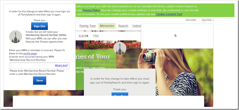The FamilySearch.org photo upload page failed