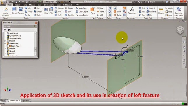 Application of 3D sketch with loft feature