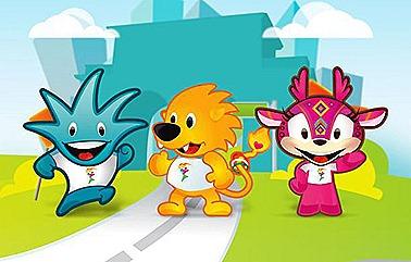 Gavo (azul), Leo (laranja) e Huichi (Rosa), os três mascotes do Pan 2011
