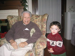 Al with Eidan, Christmas 2006 - the youngest and the oldest