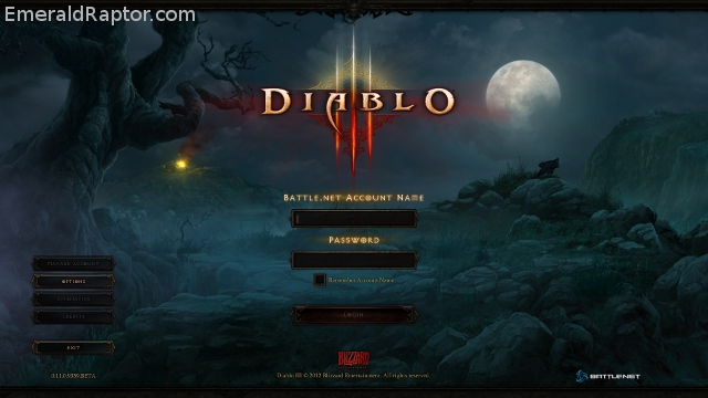 Diablo 3 login screen