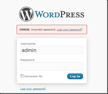 WordPress inlogscherm