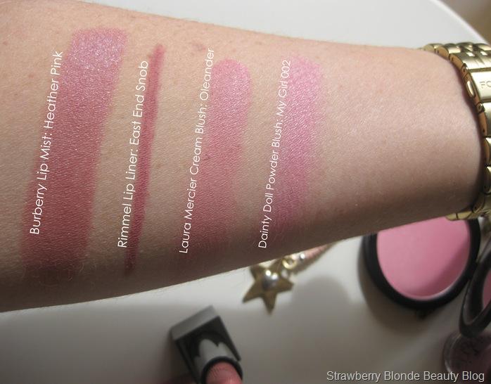 Burberry-Lip_Mist-Heather-Pink-Laura-Mercier-Oleander-swatch