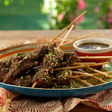 Skewered Lamb with Spicy Pomegranate-Rioja Red Wine Vinaigrette and Mint-Almond Relish