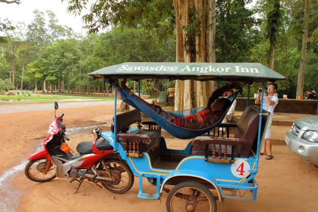 Comfortable way to sleep inside the Angkor complex of Siem Reap, Cambodia