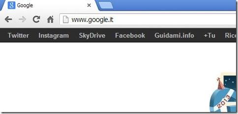 Barra nera di Google con aggiunti link personalizzati