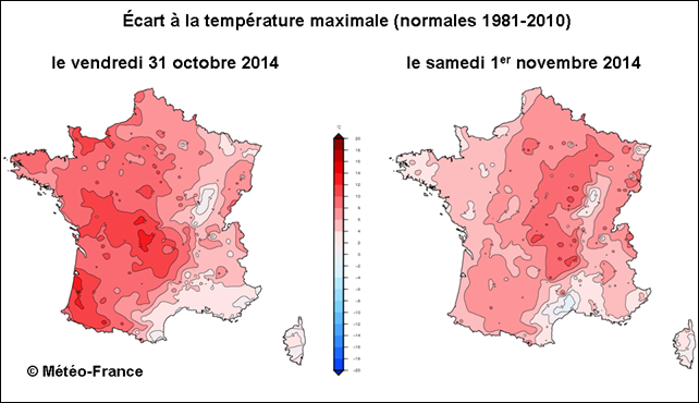 Map of record-breaking high temperatures in France, 31 October 2014 and 1 November 2014. Graphic: Météo-France