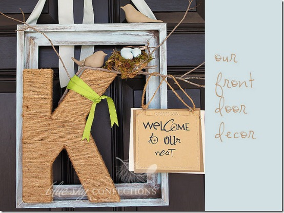diy projects with jute--create a unique front door wreath alternative with a jute wrapped monogram letter and frame
