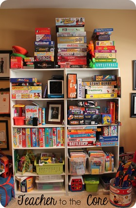 Game and toy storage- stack it to the sky and hope to avoid earthquakes
