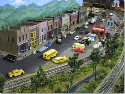 IMG_5541 Downtown Scene on the Lewis County Model Railroad Club's HO-Scale Layout at the WGH Show in Portland, OR on February 18, 2007
