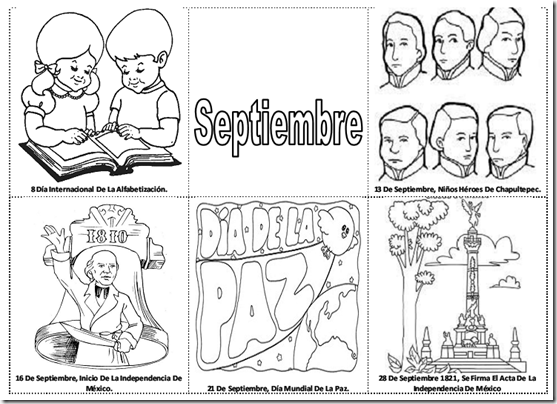 Fechas importantes de Septiembre para colorear – efemérides de septiembre para pintar