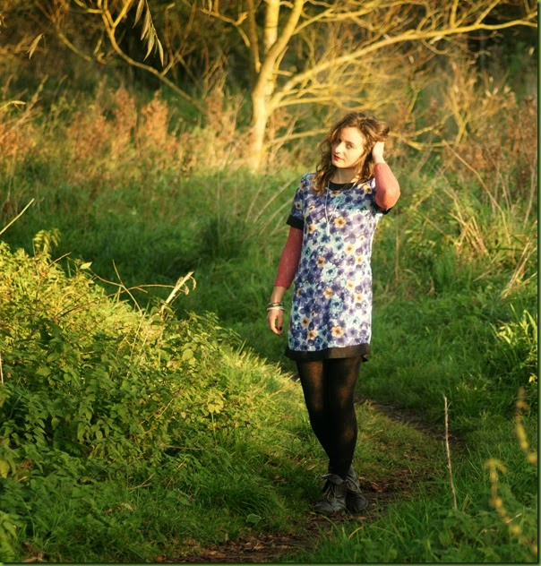sixties floral tunic dress