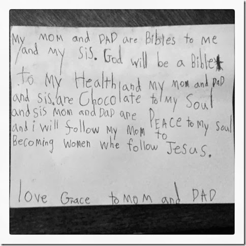 note from Grace