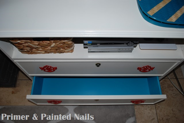 Dresser turned TV Stand Drawers Complete 3 - Primer & Painted Nails