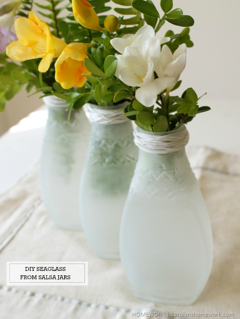 DIY Seaglass from recycled glass jars via homework | carolynshomework.com