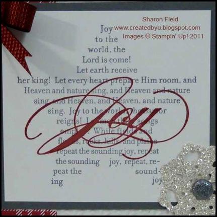 The_Sounding_Joy, Holiday_mini, catalog, glimmer_paper, glimmer_brads, quilted_Satin_Ribbon, snow_Burst, big_shot, textured_impressions_Embossing_Folder, bow, createdbyu_Blogspot, Sharon_Field