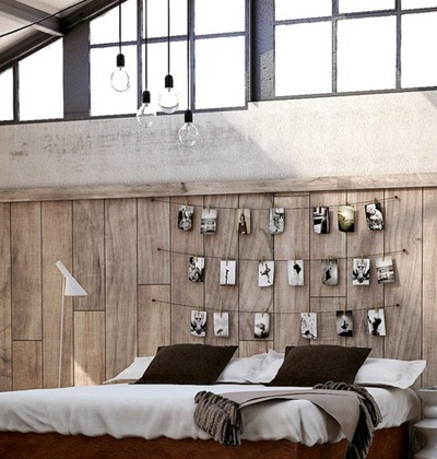 13-eclectic-utilitarian-bedroom-DIY-photo-headboard-feature-wall