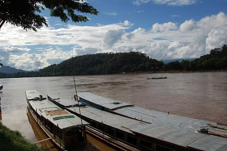 Sights of Laos: boats on Mekong