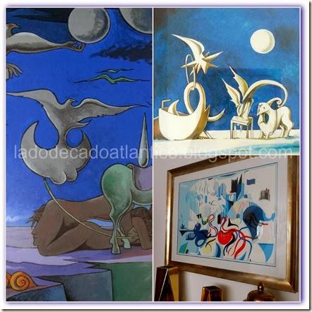 Imagem de quadro e gravuras com tons de azul