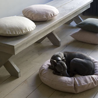 These linen dog beds come in beautiful, soft muted tones. (canvashomestore.com)