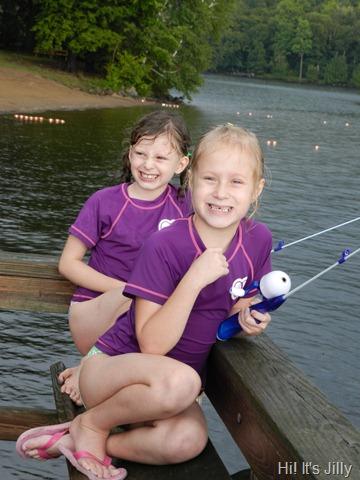 girls fishing from pier