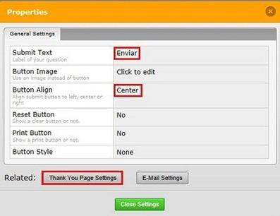 Configurar botão enviar