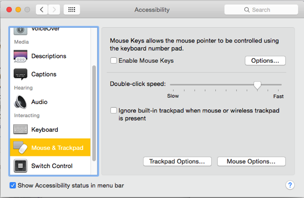 OS X Yosemite mouse and trackpad