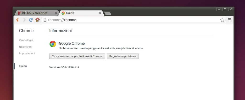 Google Chrome 35 in Linux