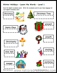 ESL Teaching Tip: Teach the holidays of the English Speaking World in order to help students to build their common cultural knowledge and increase their reading comprehension - Raki's Rad Resource - Christmas Vocabulary